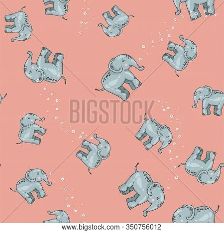 Pattern Of Blue And Grey Elephants. Background With Elephants. Childrens Pattern. Background Of Cute