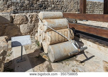 Jerusalem, Israel, January 25, 2020 : Rollers For Compressing Plaster On Roofs And Floors From The H