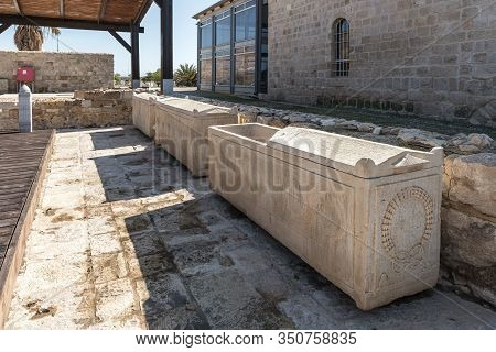 Jerusalem, Israel, January 25, 2020 : Well-preserved Few Sarcophagus At The Exhibit Of The Museum Of