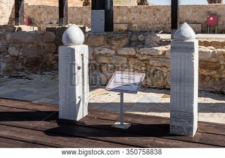 Jerusalem, Israel, January 25, 2020 : Chancel Columns From The Bythantine Period At The Exhibit Of T
