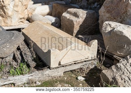 Jerusalem, Israel, January 25, 2020 : Well-preserved Sarcophagus Lid In The Yard Of The Exhibit Of T