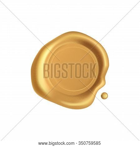 Seal Wax. Gold Stamp Wax Seal With Sparkles Isolated On White Background. Retro And Old Golden Stamp