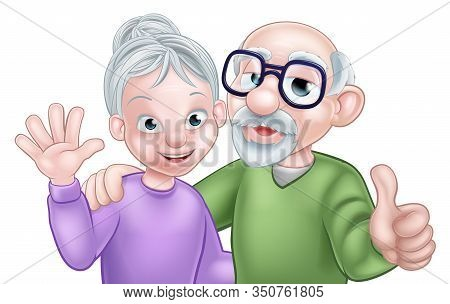 Cartoon Senior Elderly Grandparents Couple With Wife Or Woman Waving And Husband Or Man Giving A Thu
