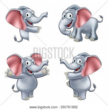 A Friendly Elephant Cartoon Mascot Character In Various Poses