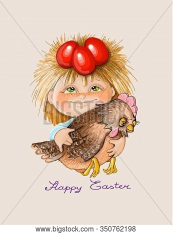 Vector Illustration Heppy Easter Boy Holds Red Testicles And A Chicken