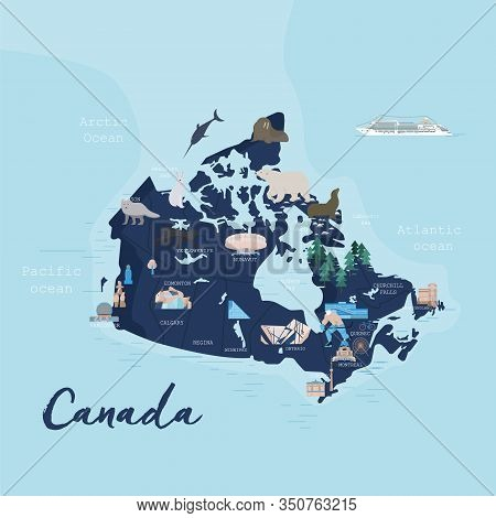 Canada Cartoon Travel Map Vector Illustration With Landmarks, Cities, Roadmap. Infographic Concept S