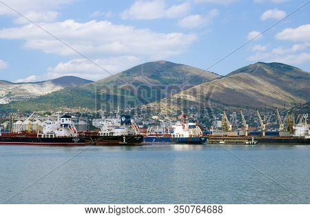 Novorossiysk, Russia - August 01, 2019: View Of The Water Area Of The Novorossiysk Port