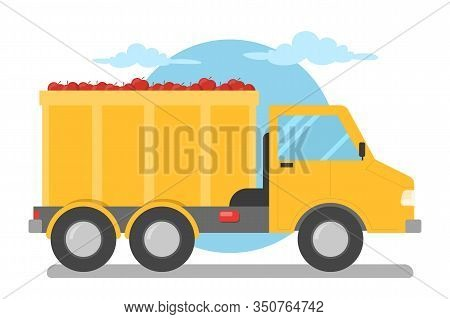 Truck With Fresh Apples Vector Isolated. Harvest