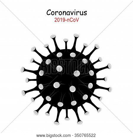 Coronavirus 2019-ncov. Corona Virus Icon. Black On White Background Isolated. China Pathogen Respira
