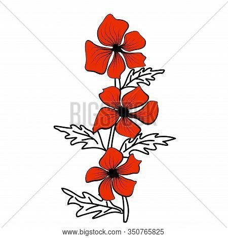 Black Outlines Of Red Flowers. Flower Icon. Vector Outline Illustration. Floral Illustration. Flower