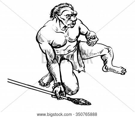 Sketch Of A Primitive Man With A Spear On A Hunt .vector Illustration.