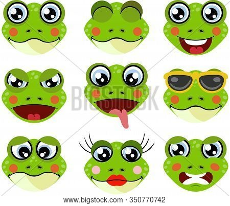 Scalable Vectorial Representing A Faces Of Frogs With Feature A Different Expressions, Element For D