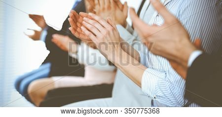 Business People Clapping And Applause At Meeting Or Conference, Close-up Of Hands. Group Of Unknown
