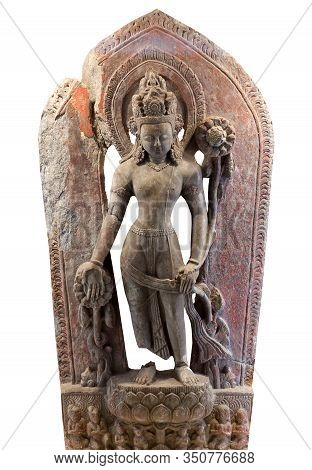 Tympanum, Architecture Detail - Ancient Bas-relief With Deity Lokeshvara, The Bodhisattva Of Compass