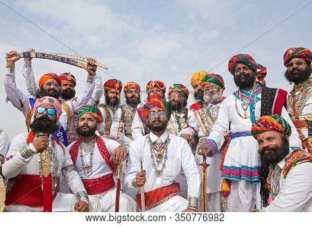 Bikaner, India - January 11, 2019: Indian Men With A Long Mustaches In National Clothes Poses For A