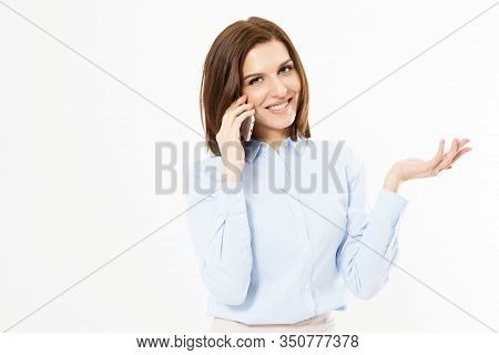 Beautiful Charming Business Woman Speaks On Phone, Isolated On White Background, Girl Talking On Mob