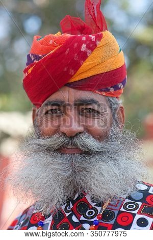 Bikaner, India - January 11, 2020: Rajasthani Handsome Man In Traditional Clothes With Beard And Lon