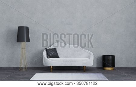 Modern Interior Of Living Room For Mockup, Luxury, Loft. Grey Sofa, Black And Gold Lamp And Bedside