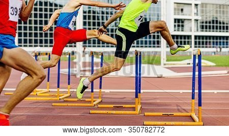 Race 400 Meters Hurdles Men Athletes Running In Athletics