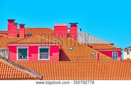 Bright Roofs In The City Center Of Lisboa
