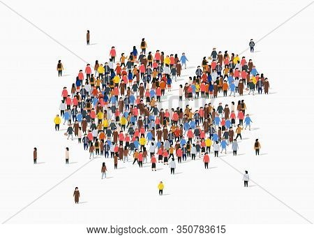 People Crowd In Form Of Pie Chart Composed Of People. Statistic Concept.