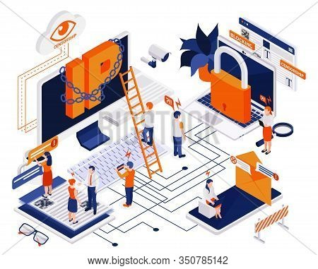 Internet Censorship Content Control Blocking Offensive Users Isometric Composition With Eye Padlock