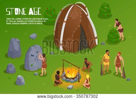 Caveman Prehistoric Primitive People Background With Editable Text And Outdoor Stone Age Scenery Wit