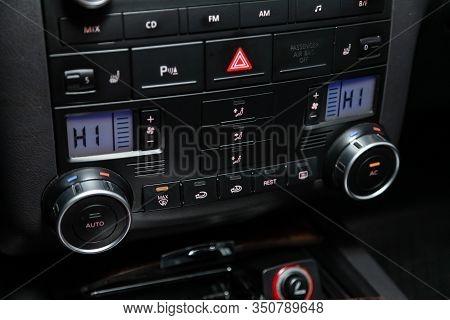 Novosibirsk, Russia - December 06, 2019:  Volkswagen Touareg,  Close Up Instrument Automobile Panel