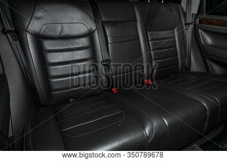 Novosibirsk, Russia - December 06, 2019:  Volkswagen Touareg,  Rear Seat For Passengers In Black Lea