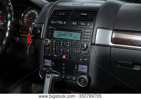 Novosibirsk, Russia - December 06, 2019:  Volkswagen Touareg, Close-up Of The Dashboard, Monitor Wit