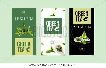Premium Green Tea Packaging Design Templates Set With Fresh Leaves Spoon Of Dry Tea And Drops Of Liq