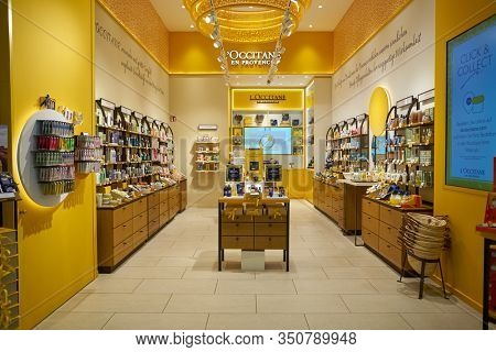 BERLIN, GERMANY - CIRCA SEPTEMBER, 2019: interior shot of L'Occitane store in Mall of Berlin. L'Occitane is an international retailer of body, face, fragrances and home products.