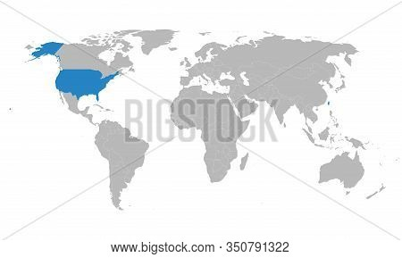 Taiwan, Usa Map Highlighted Blue On World Map. Gray Background. Perfect For Business Concepts, Backg
