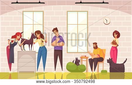Dogs Grooming Background With Grooming Salon Symbols Flat Vector Illustration