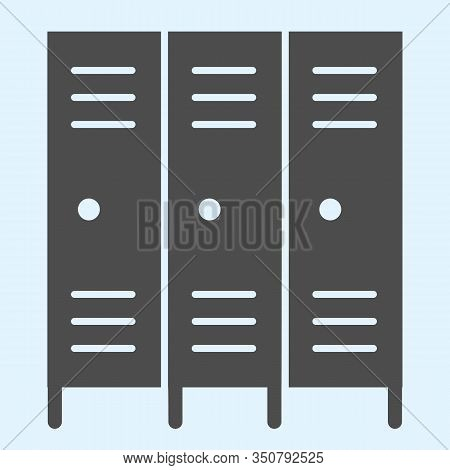 School Safe Lockers Solid Icon. Locker Or Cabinet For School Closet, Gym, Stadium. Sport Vector Desi