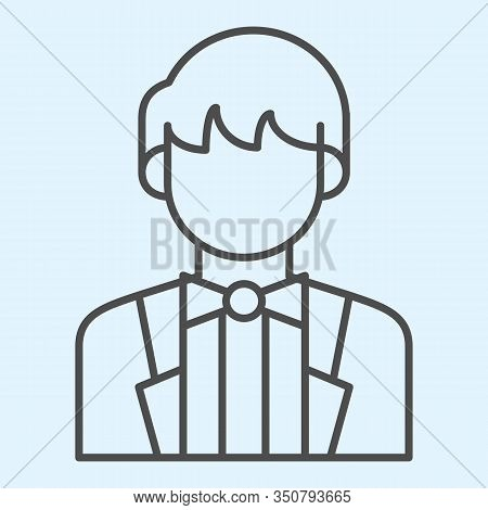 Groom Thin Line Icon. Newly Married Man In Black Jacket. Wedding Asset Vector Design Concept, Outlin