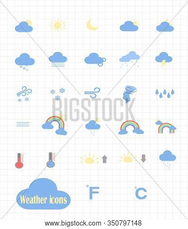 Big Vector Set Of Weather Forecast Flat Icons. Web Icons For The Application - Weather Forecast. Wea