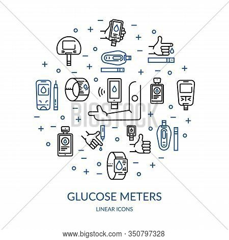 Diabetes Blood Glucose Meter Linear Icons Set