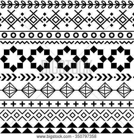 Tribal Aztec Seamless Geometric Pattern, Navajo Vector Design In Black Pattern On White Background