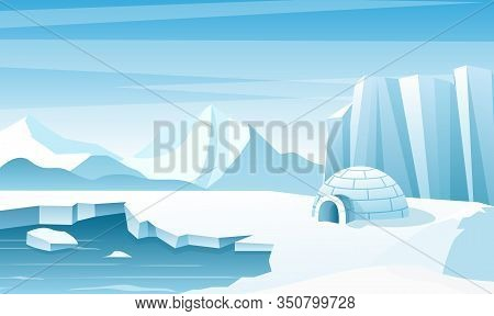 Arctic Landscape With Ice Igloo Flat Vector Illustration. House, Hut Built Of Snow. Ice Mountains Pe