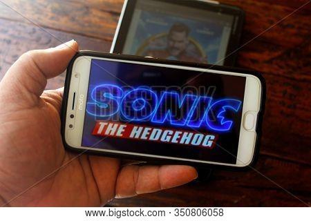 Rio De Janeiro, Brazil - February 14, 2020: Conceptual Photography Of The Film Sonic The Hedgehog. A