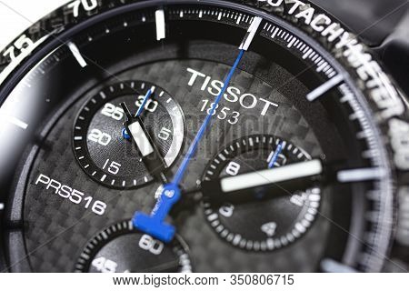 Le Locle, Switzerland 15.01.2020 - Tissot Man Watch Stainless Steel Case, Black Clock Face Dial, Spo