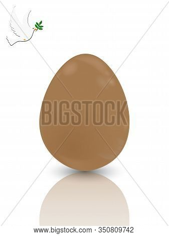 3d Illustration Of Chocolate Easter Egg With Reflection Over White Background With White Dove And Ol