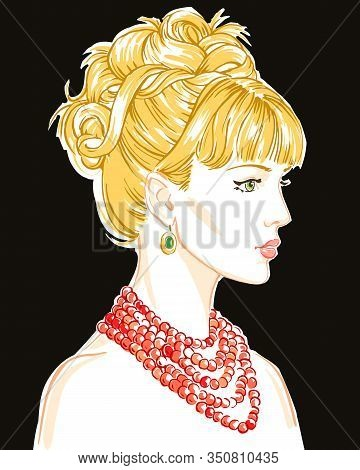 Young  Women With Necklace In Profile, Hand Drawn Scetch Fashion Vector Illustration.