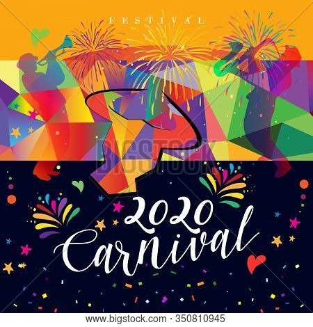 Carnival Spain fiestas Bullfighting abstract poster 2020 Spanish San Fermin Festivals, firework invitation. Running bulls main attraction famous celebration invate Pamplona fiesta logo Bullfight matador Corrida arena sanfermin isolated banner flamenco sig