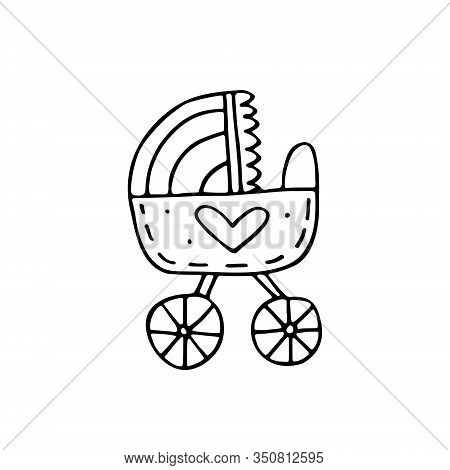 Pram, Baby Care Cute Hand Drawn Doodle Vector Illustration, Sticker, Icon, Design Element. Black Mon