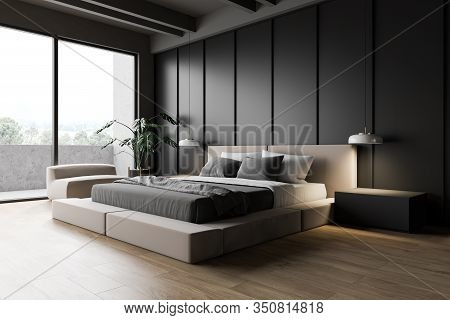 Modern Gray Master Bedroom Corner
