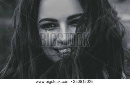 Black And White Portrait Of A Young Beautiful Woman. Woman In Black & White. Black And White Portrai