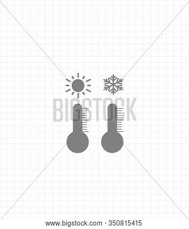 Gray Vector Icon Set Thermometers With Weather - Cold Weather And Warm Weather. Weather Forecast Set