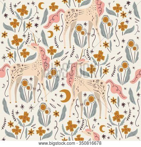 Cute Isolated Stylish Boho Unicorns Seamless Pattern Design. Good Night Concept. Magical Animals. Pa